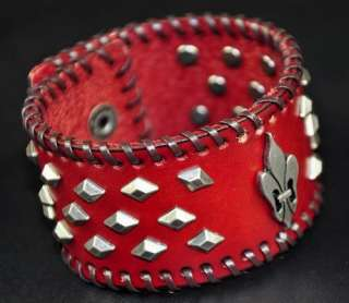 Gothic Metal Studded Wide Leather Bracelet Cuff RED