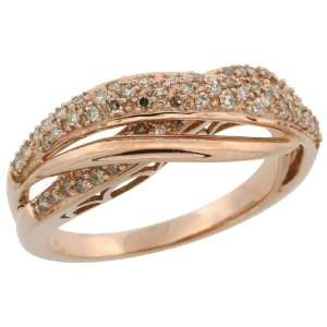 14k Rose Gold Wave Diamond Ring, w/ 0.50 Carat Brilliant Cut Diamonds