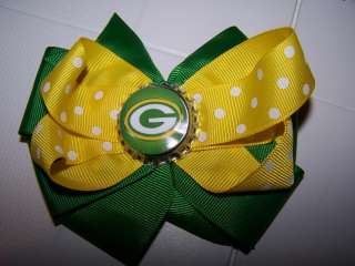Boutique Hair Bow baby toddler green and yellow Green Bay Packers