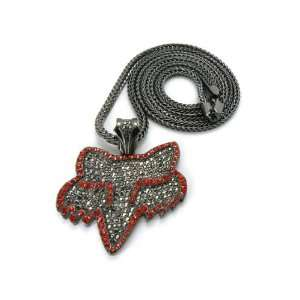 Black w/ Red Iced Out Fox Pendant with 36 Inch Franco