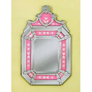 New Roxanne Pink Hand Carved Venetian Wall Mounted Mirror