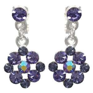 Grazioso Silver Amethyst Crystal Clip On Earrings Jewelry