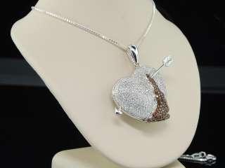 LADIES 10K WHITE GOLD HEART LOVE 2.10CT RUBY RED / WHITE DIAMOND