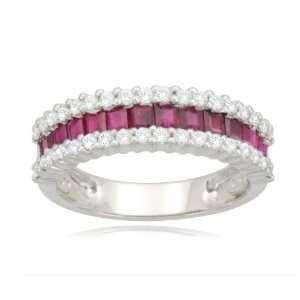 14k White Gold Classic Ruby Diamond Ring (1/3 cttw, I J