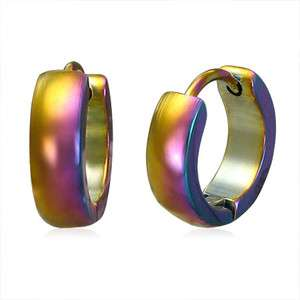 Rainbow Stainless Steel Rainbow Hoop Huggie Earrings 5d