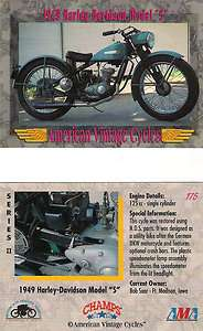 American Vintage 1949 Harley Davidson Model S Motorcycle 125 cc Single