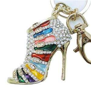 High Heel Keychain Purse Charm Swarovski Crystal Multi Enamel Vogue