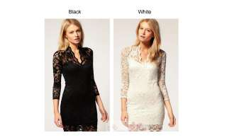 Pretty Dresses Girl Deep V Collar Short sleeve Lace Skirt Dress