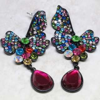 New Butterfly Chandelier Multi Crystal Earrings s0799