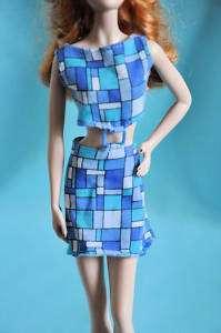 Barbie Doll Blue Block Print Mod Style Dress