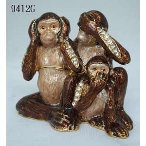 Three Monkeys See Hear Speak Evil Jewelry Trinket Box With