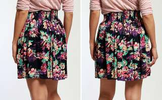 MOGAN Flirty Floral Print A LINE Pleated MINI SKIRT High Waisted Woven