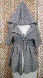 MOTH Anthropologie Womens Soft Alpaca Blend Gray Hooded Cardigan