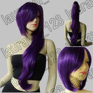 Resistant Wavy Ponytail 28 + Short Cosplay Wig Dark Purple