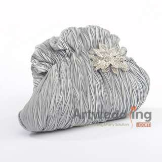 2011 Hot White Blue Pink Satin Pleated Crystal Bridal /Evening Clutch