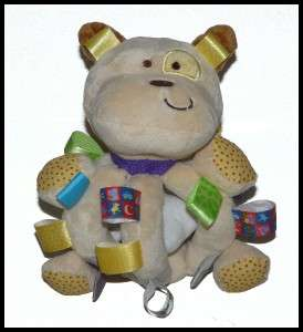 Taggies Baby Toy Plush Dog bone Rattle Chime WASHED