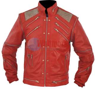 Michael Jackson Beat It Replica Red Original Leather Jacket   Silver