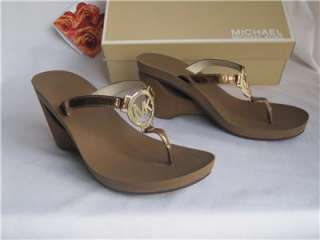 New MICHAEL KORS Warren Bronze Metallic Leather Thong Sandals Shoes 8