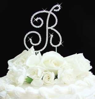 Full Crystal Monogram Wedding Cake Topper Silver Letter