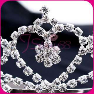 Lady Wedding Rhinestone Princess Crown Tiara Hair Comb