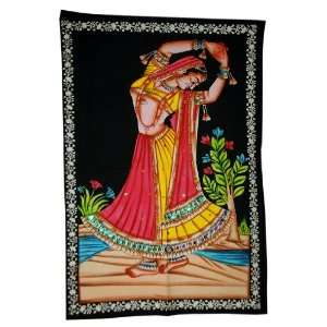 Wall Hanging Tapestry Runner Indian Dancing Woman: Home