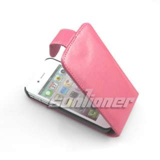 Leather Hard Flip Case Pouch Cover for iPhone 4 4G and iPhone 4S in