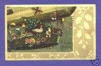HTL33 Hold to Light Santa Claus postcard, Air Ship
