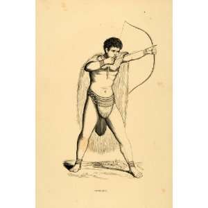1844 Engraving Costume Hottentot Khoikhoi Man Archer