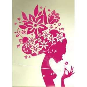 Wall Sticker Decal Romantic Houseful Flowers Girl