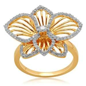Orchid Flower Ring (1/2 Cttw, IJ Colour, I2/I3 Clarity) Jewelry