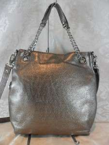 MICHAEL KORS GUNMETAL SILVER LEATHER JET SET TOTE