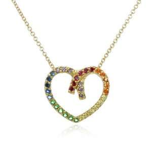 Gold Plated Multi Color Heart Pendant 18 CHELINE