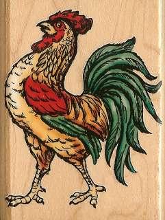 ROOSTER BIRD Wood Mounted Rubber Stamp INKADINKADO NEW