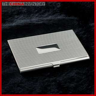 STAINLESS STEEL SILVER TONE GROOVED CARD HOLDER H1906