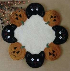 Jacks & Cats Wool Penny Rug Candle Mat *PATTERN*