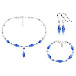 Sterling Silver Dark Blue and Clear Crystal Bracelet Earrings with 16