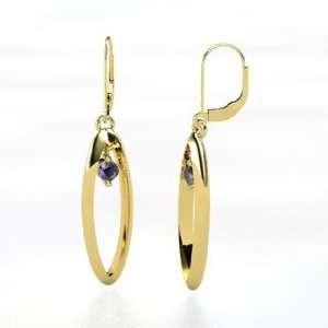 Studebaker Earrings, 14K Yellow Gold Earrings with Iolite Jewelry