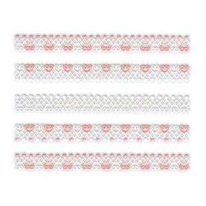 Iridescent Glitter White & Pink Heart/Dot Lace Trim Strip Nail