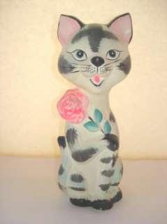 Vintage Forsum Still Bank Tabby Cat Kitty Hot Pink Rose