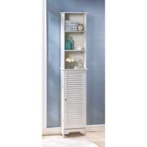 Cottage Chic white bathroom tall storage cabinet louvered