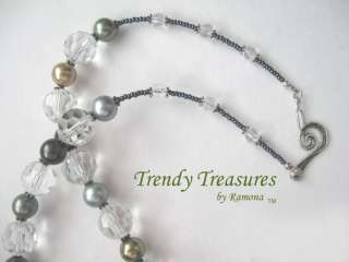 Silver Scroll Cross,Glass Pearls,Crystals Necklace