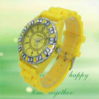 Geneva Crystal/Rhinestone Jelly Watch Yellow Silicone Rubber Wrist