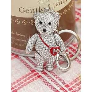 teddy bear crystal bag charm