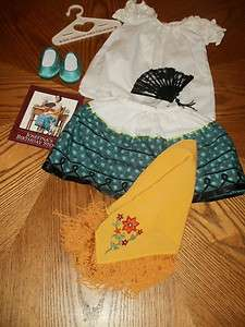 AMERICAN GIRL~JOSEFINA~BIRTHDAY FEAST OUTFIT~SHAWL~& FAN~PLEASANT