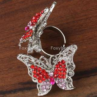 1Pc New *5 Colors* Rhinestone Butterfly Fashion Cocktail Ring #8
