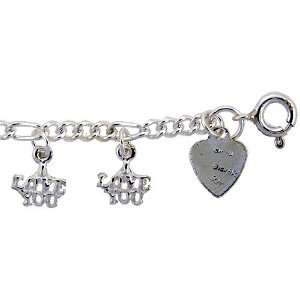 Sterling Silver I LOVE YOU Charm Bracelet Jewelry