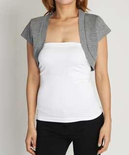3X Basic Short Sleeve Cropped OPEN CARDIGAN Plain Stretch Shrug Bolero