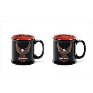 Set of 2 Harley Davidson Eagle Logo Coffee Mugs