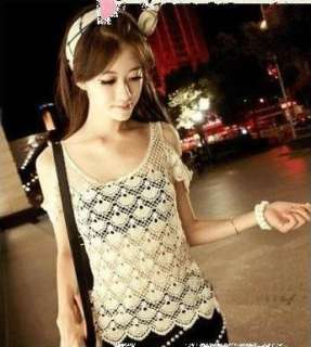 Women Ladies Knitting lace crochet strapless tank top lovely Sleeve