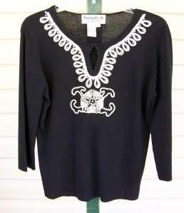 JOSEPH A. Gorgeous Black Vicose Knit Sweater Top XL